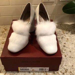 Donald Pliner White Heels with White Rabbit Fur